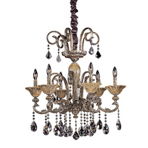 Legrenzi Antique Silver Leaf Six-Light Chandelier with Firenze Clear Crystal