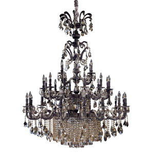 Avelli Sienna Antique Silver Leaf Accent 41-Light Chandelier with Firenze Clear Crystal