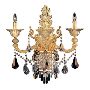 Mendelsshon  Two-Tone Gold 24K Three-Light Sconce with Firenze Clear Crystal