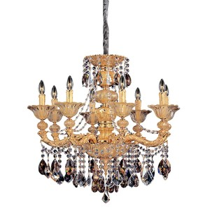 Mendelsshon Two-Tone 24K Gold Eight-Light Chandelier with Firenze Mixed Crystal