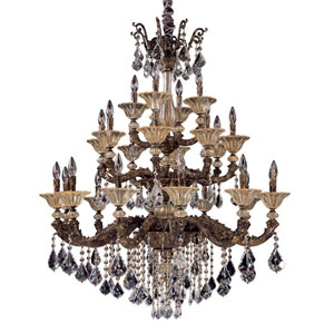 Mendelsshon  Antique Gold Leaf 24-Light Chandelier with Firenze Mixed Crystal