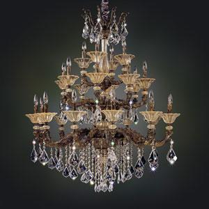 Mendelsshon  Antique Gold Leaf 24-Light Chandelier with Firenze Clear Crystal
