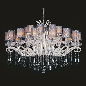 Britten Two-Tone Silver 24-Light Chandelier with Firenze Smoke Fleet Argentine Crystal