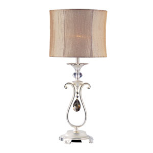 Portables Two-Tone Silver One-Light Table Lamp with Firenze Fleet Gold Crystal