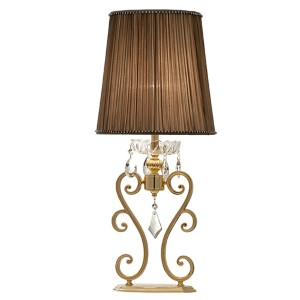 Portables Two-Tone 24K Gold One-Light Table Lamp with Firenze Mixed Crystal