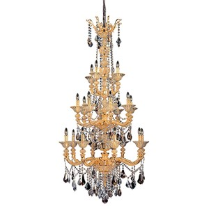 Mendelsshon Two-Tone 24K Gold 20-Light Chandelier with Firenze Mixed Crystal