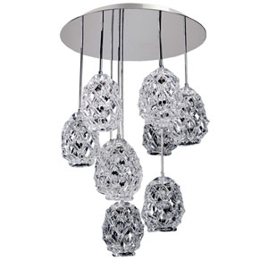 Veronese Chrome Nine-Light Convertible Round Pendant with Firenze Mixed Crystal