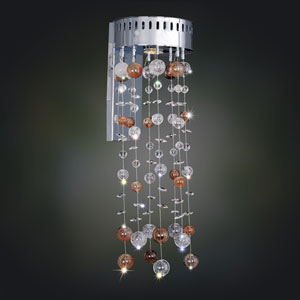 Rubens Chrome One-Light Sconce with Firenze Clear Crystal