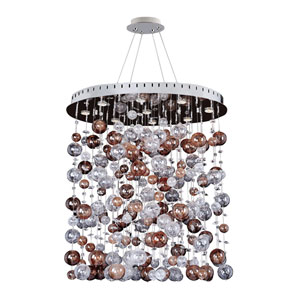 Rubens Chrome Nine-Light Oval Convertible Pendant with Firenze Clear Crystal