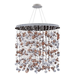 Rubens Chrome 18-Light Oval Convertible Pendant with Firenze Clear Crystal