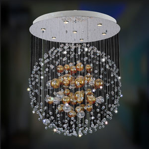 Velazquez Chrome Seven-Light Semi Flush with Firenze Clear Crystal