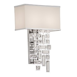 Vermeer Chrome Two-Light 19-Inch High Wall Bracket with Firenze Clear Crystal