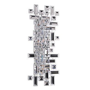 Vermeer Chrome Four-Light Wall Bracket with Firenze Clear Crystal