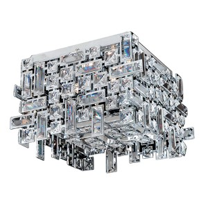 Vermeer Chrome Square Four-Light Flush Mount with Firenze Clear Crystal