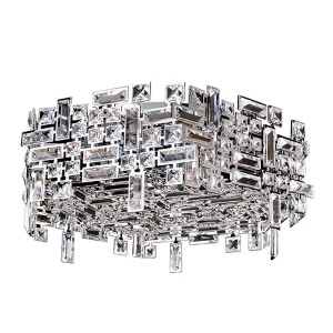 Vermeer Chrome Six-Light Hex Flush Mount with Firenze Clear Crystal