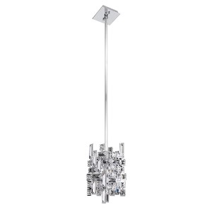 Vermeer Chrome One-Light Mini Pendant with Firenze Clear Crystal