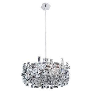 Vermeer Chrome Six-Light Hexagonal Pendant with Firenze Clear Crystal