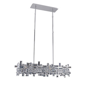 Vermeer Chrome  Six-Light Island Pendant with Firenze Clear Crystal