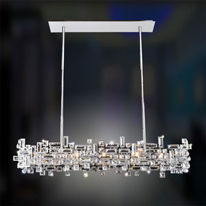 Vermeer Black Pearl Eight-Light Island Pendant with Swarovski Strass Clear Crystal