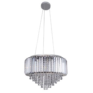 Adaliz Chrome Four-Light Round Pendant with Firenze Clear Crystal