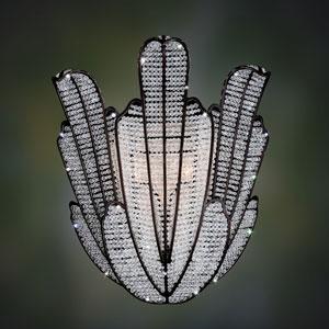 Tiepolo  Silver Leaf Sienna Bronze Three-Light Sconce with Swarovski Strass Clear Crystal