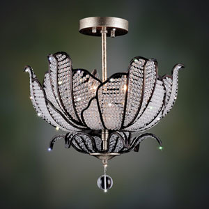 Tiepolo  Silver Leaf Sienna Bronze Three-Light Semi Flush with Swarovski Strass Clear Crystal