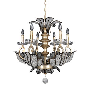 Tiepolo Silver Leaf and Sienna Bronze Six-Light Chandelier with Firenze Clear Crystal