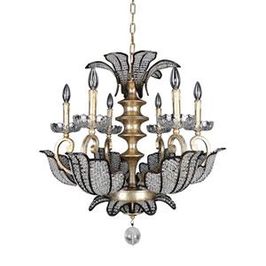 Tiepolo  Silver Leaf Sienna Bronze Six-Light Chandelier with Swarovski Strass Clear Crystal