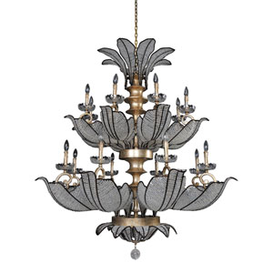 Tiepolo Silver Leaf and Sienna Bronze 16-Light Chandelier with Firenze Clear Crystal