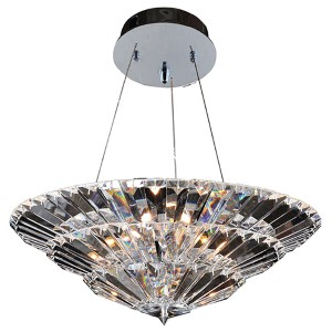 Auletta Chrome 10-Light Convertible Bowl Pendant with Firenze Clear Crystal