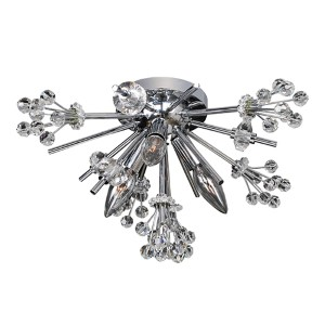 Constellation Chrome Three-Light Convertible Flush Mount with Firenze Clear Crystal