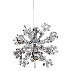 Constellation Chrome Six-Light 13-Inch Wide Pendant with Firenze Clear Crystal