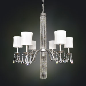 Soriano Vintage Silver Three-Light Chandelier with Firenze Clear Crystal
