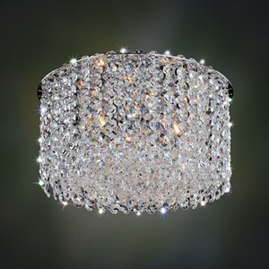 Milieu Metro Chrome Three-Light Flush Mount with Firenze Clear Crystal