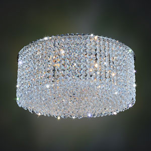 Milieu Metro Chrome Eight-Light Flush Mount with Firenze Clear Crystal