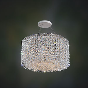 Milieu Metro Chrome Six-Light Semi Flush with Firenze Clear Crystal