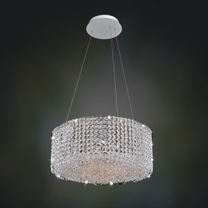 Milieu Metro Chrome Eight-Light Pendant with Firenze Clear Crystal