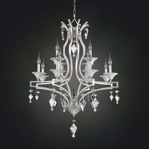 Florence Tarnished Silver 12-Light Chandelier with Firenze Clear Crystal