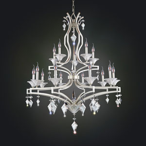 Florence Tarnished Silver 15-Light Chandelier with Firenze Clear Crystal