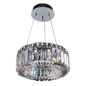 Rondelle Chrome Three-Light Round Pendant with Firenze Clear Crystal