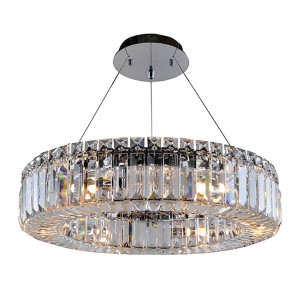 Rondelle Chrome Six-Light Round Pendant with Firenze Clear Crystal
