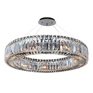 Rondelle Chrome Nine-Light Round Pendant with Firenze Clear Crystal