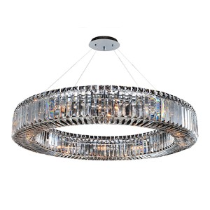 Rondelle Chrome 12-Light Round Pendant with Firenze Clear Crystal