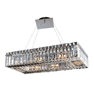 Baguette Chrome Eight-Light Rectangular Island Pendant