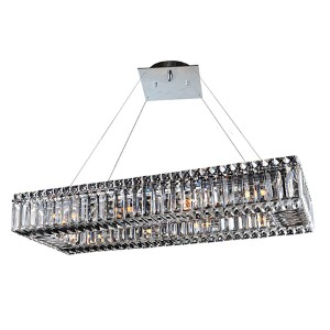 Baguette Chrome 10-Light Rectangular Island Pendant