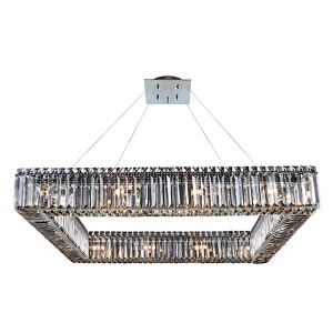 Quadro Chrome 16-Light Square Drum Pendant with Firenze Clear Crystal