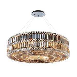 Luxor Chrome Nine-Light Pendant with Firenze Fleet Gold Crystal