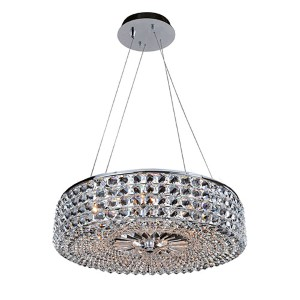Arche Chrome Six-Light Round Drum Pendant with Firenze Clear Crystal