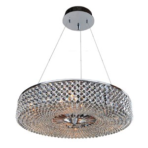 Arche Chrome Nine-Light Round Drum Pendant with Firenze Clear Crystal