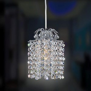 Milieu Chrome One-Light 6-Inch Wide Mini Pendant with Firenze Clear Crystal